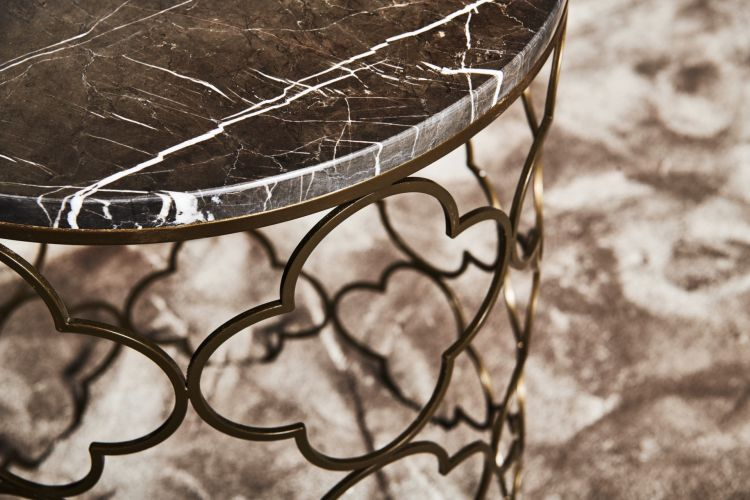 Detail Mansour Side Table (Raw Metal, Grey Stone)