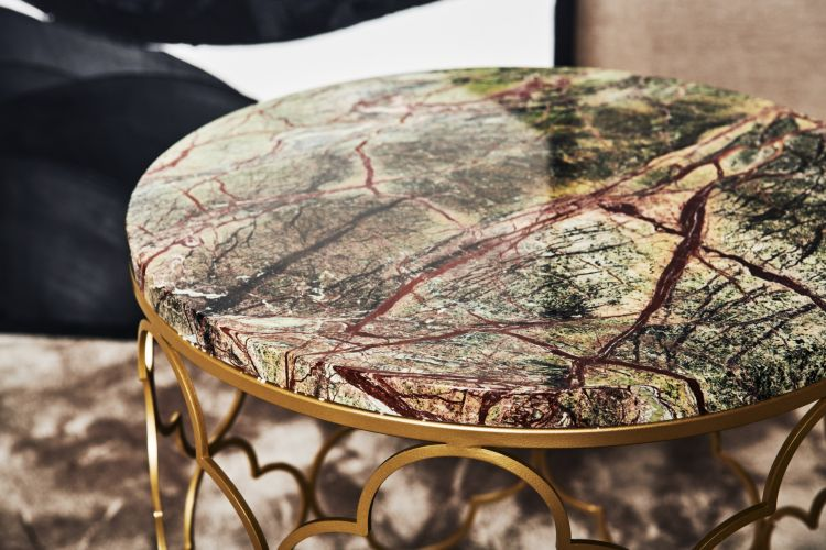 Detail Mansour Side Table (Matte Brass, Rainforest)