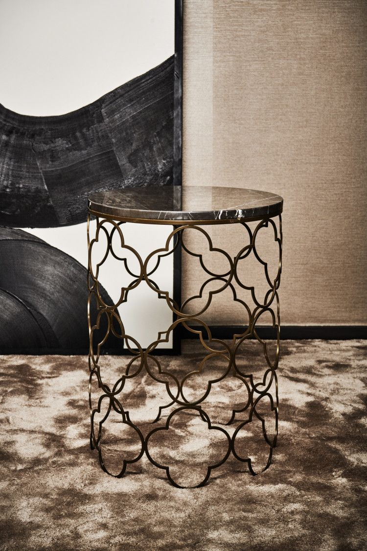 Mansour Side Table (Raw Metal, Grey Stone)